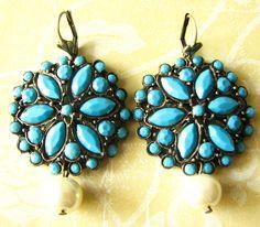 Turquoise Earrings Bridal Wedding Jewelry Bridal Dangle Earrings Bridesmaid Jewelry Flower Earrings. $34.00, via Etsy.