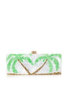 Loving the South, I HAD to post this minaudière.  EDIE PARKER's pearlescent-effect Flavia box minaudière clutch is inspired by surf culture and represents the perfect beach day. This fun and whimsical design was handmade in the USA and features a vibrant green and gold glitter palm tree inlay.
