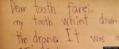 MY BABY:  The author of today's cute kid note may not be a perfect speller, but he knows how to make a shrewd deal. Title: A Letter To The Tooth Fairy