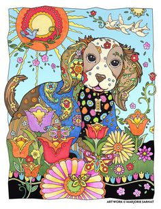 "Creative Haven Dazzling Dogs Coloring Book by Marjorie Sarnat, ""Sunshine"" ~color~"
