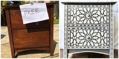 Nightstands with Faux Bone Inlay Stencils | Jewels at Home Campaign Dresser, Mid Century Dresser, Nightstands, Furniture Makeover, Bones, Stencils, Jewels, Projects, Painting