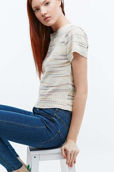 Urban Outfitters Novelty Space Dye Knit Tee in Ivory