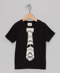 Black Mustache Tie Tee - Toddler & Boys #zulily #zulilyfinds