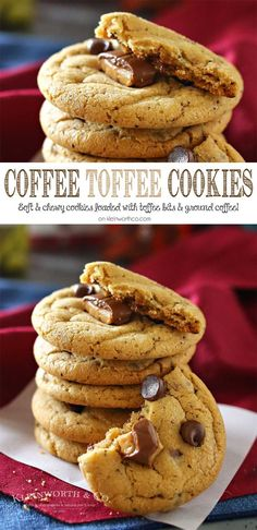 Coffee Toffee Cookies, a soft & chewy cookie loaded with chocolate chips, toffee bits & COFFEE. A java lovers dream, definitely the perfect coffee pairing. You won't be able to eat just one. Plus my new favorite coffee flavor obsession. on kleinworthco.com #ad @cameronscoffee