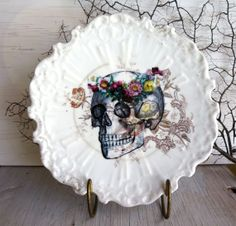 Vintage May Queen Skull Plate Victorian Gothic Day of the Dead Altered Antique Wall Plate