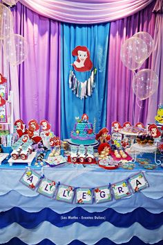 Take a look at this The Little Mermaid Birthday Party. Love how they used transparent balloons as water bubbles to decorate the dessert table! See more party ideas and share yours at CatchMyParty.com