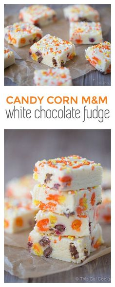 Candy Corn M&M White Chocolate Fudge. This crazy good fudge is filled with candy corn and M&Ms and is so easy to make. Fudge Recipes, Candy Recipes, Baking Recipes, Candy Corn Fudge Recipe, Candy Corn Cookies, Jelly Cookies, Chip Cookies, Halloween Desserts, Halloween Candy