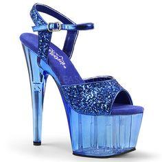 6f1264a094d Pleaser ADORE-710GT Blue Glitter Blue Tinted ◈ Seductive Shoes UK ◈  RalphCorbett.