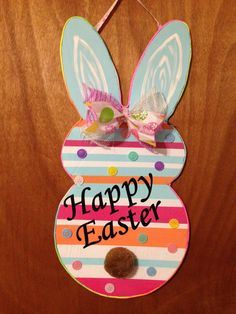 Happy Easter, Easter Decor, Door Hanger, Wall Decor, Bunny, Foam Board,Buttons, Easter Bunny, Easter Hanging by TheCreativeSign on Etsy