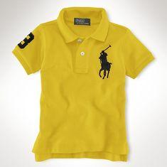 Maglietta Polo Ralph Lauren Bambino Big Pony Cotton Breve Maniche Polo  Giallo Nero 786a8bb5fd4