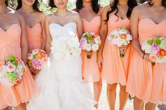 Romantic peach bridesmaids dresses...paired with a fall bouquet tho :) You choose colour, you choose style....we do the rest at Jessica Bridal in Auckland, NZ.