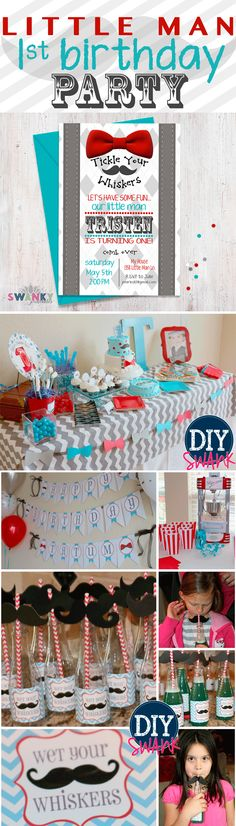Little Man First Birthday Theme. Mustache and Bowtie birthday party. Invitations and Ideas! www.diyswank.com