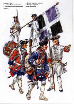French;Infantry 1750s 1.La Reine Regt, Drummer. 2.Grenadiers de France Regt, Sergeant. 3.Cambis Regt. Sergeant. 4.Auvergne Regt, Officer with Colour