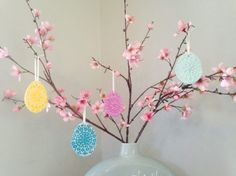 Hanging Easter eggs by Handcraft Huckleberry - Easter pastel decorations with eggs, bunnies and chicks - More at www.dreamwedding.com Pastel Decor, Huckleberry, Easter Eggs, Bunnies, Wedding Decorations, Wedding Inspiration, Spring, Wedding Decor, Rabbit