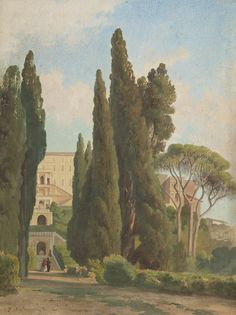JEAN-ACHILLE BÉNOUVILLE (1815 Paris 1891) The gardens of the Villa d'Este, Tivoli Watercolour and gouache over traces of charcoal Signed and dated lower left: Ach. Benouville Roma 1861 323 x 242 mm