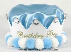 Boys Light Blue Jeweled Birthday Crown Embellished Satin Party Hat Accessory #PartyHatsLLC