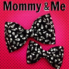Skull black and white fabric hair bow punk by SplendidBee on Etsy, $7.50