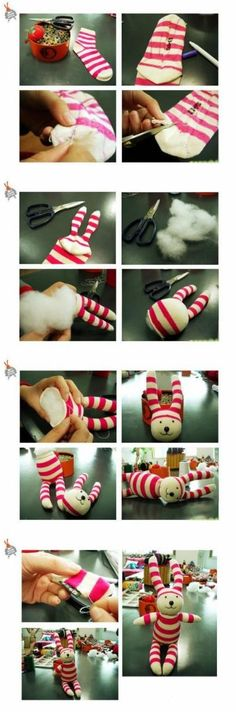 maskotka na tablicy DIY/ Handmade przypisanej do kategorii DIY - Zrób to sam Sock Crafts, Fabric Crafts, Sewing Crafts, Diy Craft Projects, Crafts For Kids, Sock Bunny, Sock Dolls, How To Make Toys, Rabbit Toys