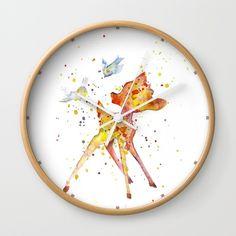 Bambi Wall Clock by Salome | Society6