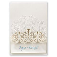 A shimmering, vintage filigree wrap is embossed and laser cut in a lacy pattern to hold your wedding invitation card. #Medieval #WeddingInvitations #DavidsBridal http://www.invitationsbydavidsbridal.com/Wedding-Invitations/Laser-Cut-Invitations/2947-DBN12546-Vintage-Filigree--Invitation.pro?&sSource=Pinterest&kw=Medieval_DBN12546