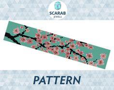 Loom Bead Pattern: Cherry Blossom Bracelet / Cuff by ScarabJewels