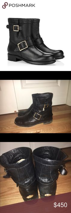 Jimmy choo black biker leather boots Jimmy choo black biker leather boots these boots are my babies so sad to sell but after my first pregnancy they are super tight. I mean these boots can be worn everywhere anywhere! My boots definitely need a cleaning they aren't in perfect condition but leather spa can deff clean tham. I have the box also! These are sold out everywhere purchased at Bergdorfgoodman Jimmy Choo Shoes Combat & Moto Boots