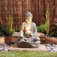 Buddha Garden Fountain LED Water Feature Self Contained Ornament NEW by Serenity 5017730353073 Small Japanese Garden, Japanese Garden Design, Japanese Water Feature, Japanese Garden Lighting, Japanese Water Gardens, Japanese Maple, Balinese Garden, Asian Garden, Water Features In The Garden