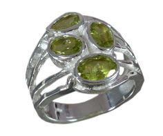 925 Solid Sterling Silver Ring Natural Peridot Gemstone US Size 7 JSR-646 #Handmade #Ring