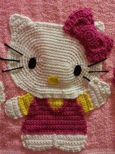 crochet hello kitty applique Afghan Crochet Patterns, Crochet Squares, Crochet Motif, Crochet Flowers, Crochet Appliques, Cute Crochet, Crochet Dolls, Crochet Baby, Hello Kitty Crochet