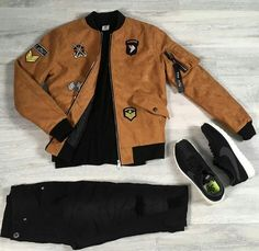 Retrouvez ce look sur http://realnswag.fr Camel look #streetwear #urbanstyle #bomber #black #streetstyle #sneakers