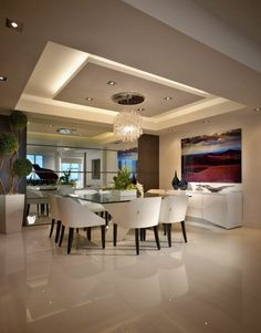 65 New False Ceilings with Cove Lighting Design for Living Room – - Ceiling design Gypsum Ceiling Design, House Ceiling Design, Ceiling Design Living Room, Living Room Lighting, Dining Room Design, House Design, Kitchen Ceiling Design, Living Room Floor Plans, Living Room Flooring