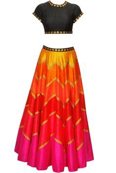 This lehenga is in multicolour panelled raw silk with sequin gotta. Blouse of this lehenga set is in black colour with sequin work. Dupatta of this multicolour lehenga sert is in net fabric with gold