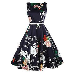 LANLAN Peony Print Floral Sleeveless swing Dress with Belt 2017 Women Summer Dress Plus Size Audrey Hepburn Vintage Dresses Swing Dress 50s, Sleeveless Swing Dress, Belted Dress, Chiffon Dress, Skater Dress, Vintage Outfits, Vintage Dresses, Vintage Fashion, 60s Dresses