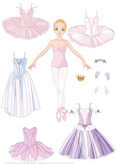 Paper Doll of a Girl Ballet Dancer with Different Costumes Super Coloring - Disney Paper Dolls, Barbie Paper Dolls, Vintage Paper Dolls, Frozen Paper Dolls, Antique Dolls, Paper Doll Template, Paper Dolls Printable, Paper Dolls Clothing, Doll Clothes