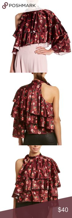 Lea & Viola Ruffled One-Shoulder Top Lea & Viola Color/Pattern: Burgundy Floral Approximately 23in From Shoulder To Hem Measurement Was Taken From A Size Small And May Vary Slightly By Size Design Details: One-Shoulder Style, Ruffled Satin Design With Tiered Left Sleeve Self-Tie Neck 97% Polyester, 3% Spandex Hand Wash Imported Imported Color/Pattern: Burgundy Floral Lea & Viola Tops