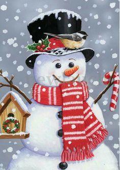 Snowman Birdhouse Christmas Garden Flag Primitive Chickadee X Christmas Garden Flag, Christmas Canvas, Christmas Paintings, Christmas Balls, Christmas Snowman, Winter Christmas, Vintage Christmas, Christmas Wreaths, Christmas Crafts