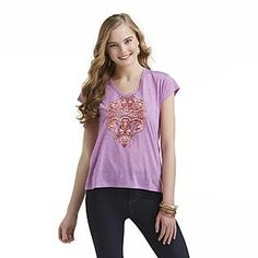 Dream Out Loud by Selena Gomez- -Junior's Embellished Graphic T-Shirt - Floral/Paisley