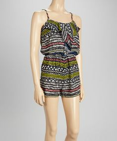 Another great find on #zulily! Ivory & Black Tribal Ruffle-Front Romper by Fashion Web #zulilyfinds $12.99