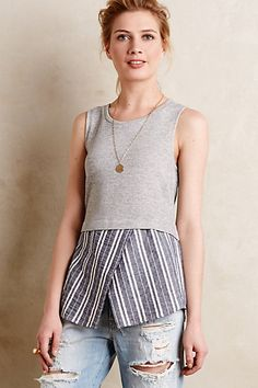 Super easy DIY I must try even though it might not be flattering on a woman who has had 3 babies! Sew great remakes with Threadhead TV. ~Ashton Layered Tank #anthropologie