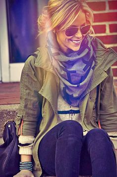 Fall Outfit With Army Jacket, Scarf and Ray Bans