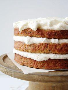 Banana Zucchini Layer Cake with Whipped Cream Cheese Frosting!
