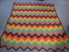 This is an amazing find. Vintage original, 70s chevron crochet blanket in excellent condition (no holes or gaps). It is warm, soft, cozy and weighty.