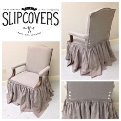 Exposed top ruffled slipcover in natural tissue flax linen with ruffled edging and mother of pearl button closure. - By Jeanie V. of LS Slipcovers