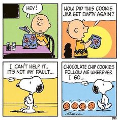 """""""...chocolate chip cookies following Snoopy home"""", Charlie Brown."""