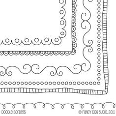 Square Doodle Black Border Frames - Size Doodled Borders (not free)