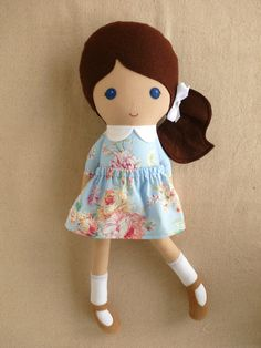 Reserved for Angie  Fabric Doll Rag Doll Girl in por rovingovine, $37.00