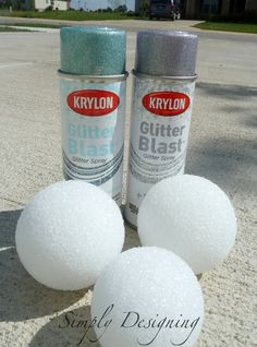 Glitter Blast Simply Designing Porch From this to .see next pic. She says soooo much easier and faster too. Just spray on! Holiday Crafts, Christmas Crafts, Holiday Decorations, Homecoming Decorations, Glitter Decorations, Hanging Decorations, Christmas Ornaments, Christmas Stuff, Easter Crafts