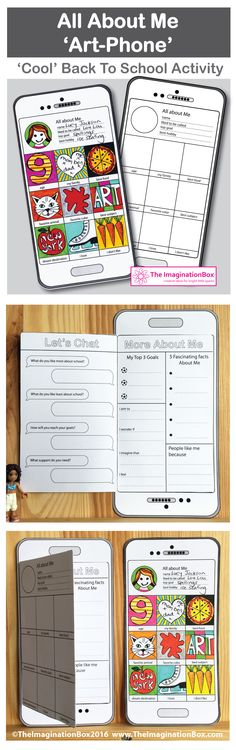 Engage children creatively with this easy to use pdf download Instagram style, 'tech' mobile phone/tablet 'All About Me' first week back, art and writing activity. Children can learn more about themselves and their peers and teachers can get to know more about their new classroom individuals in an imaginative way.This activity invites students to cut out and make their own fold out booklet style art-phone, and then to complete the image making on the front cover and the written elements…