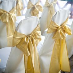"$2.26 | Quantity: 5 Chair Sashes | Material: Satin style with shiny finish | Color: Champagne | Size: 6"" wide x 106"" long. 