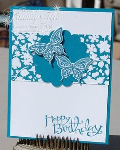 """Fom Tammy Fite - Best of Butterflies (133345)  Sassy Salutations (126705 W)  Island Indigo Classic Ink (126986)  Island Indigo Cardstock (122923)  Whisper White Cardstock (100730)  Twitterpated Designer Paper (125406)  2 3/8"""" Scallop Circle Punch (118874)  Elegant Butterfly Punch (127526)"""